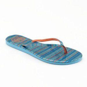 SO Glitter Metallic Blue Striped Flip-Flops, Large